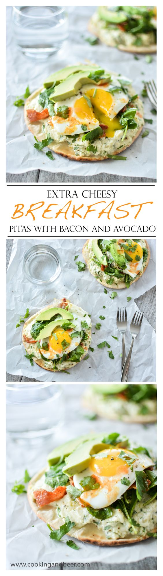 Extra Cheesy Breakfast Pitas with Bacon and Avocado | www ...