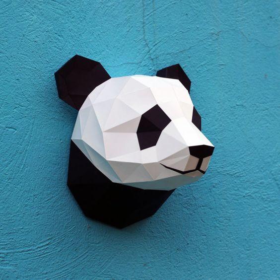 Papercraft Panda Kopf  druckbare DIY Vorlage 6 von WastePaperHead