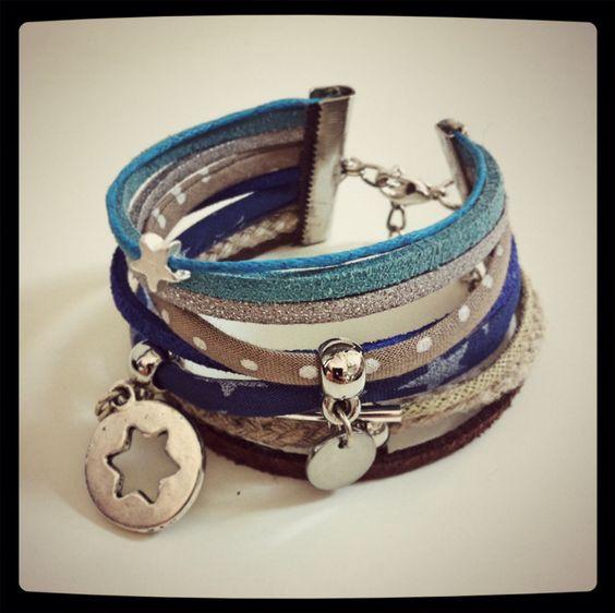 Bracelet manchette liberty beige/bleu:
