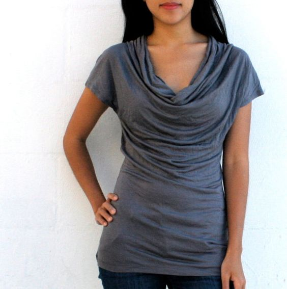 Classic Chic Cowl Neck Jersey Blouse in the all new black - GRAY! by @IslaNewYork $45 #clothing #blouse #top #ruch #fashion #gray #charcoal #cowl #jersey #fabric #sexy #handmade #classic #woman #gift #chic