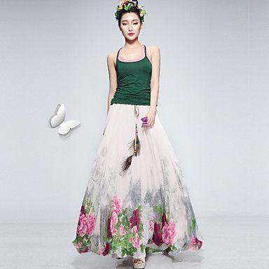 Women's Casual Print Maxi Inelastic Medium Maxi Skirts (Chiffon) 3646914 2016 – $13.99