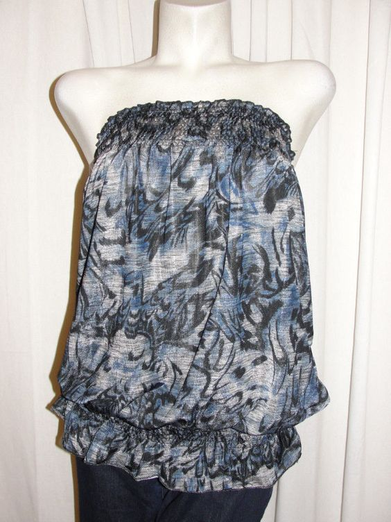 POP STAR Blue Gray Elastic Banded Tube Top Sleeveless Slip On Sz L Casual Summer #POPSTAR #KnitTop #Casual