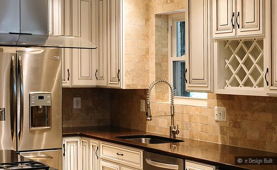 Best White Cabinets With Suede Brown Granite With Backsplash 400 x 300