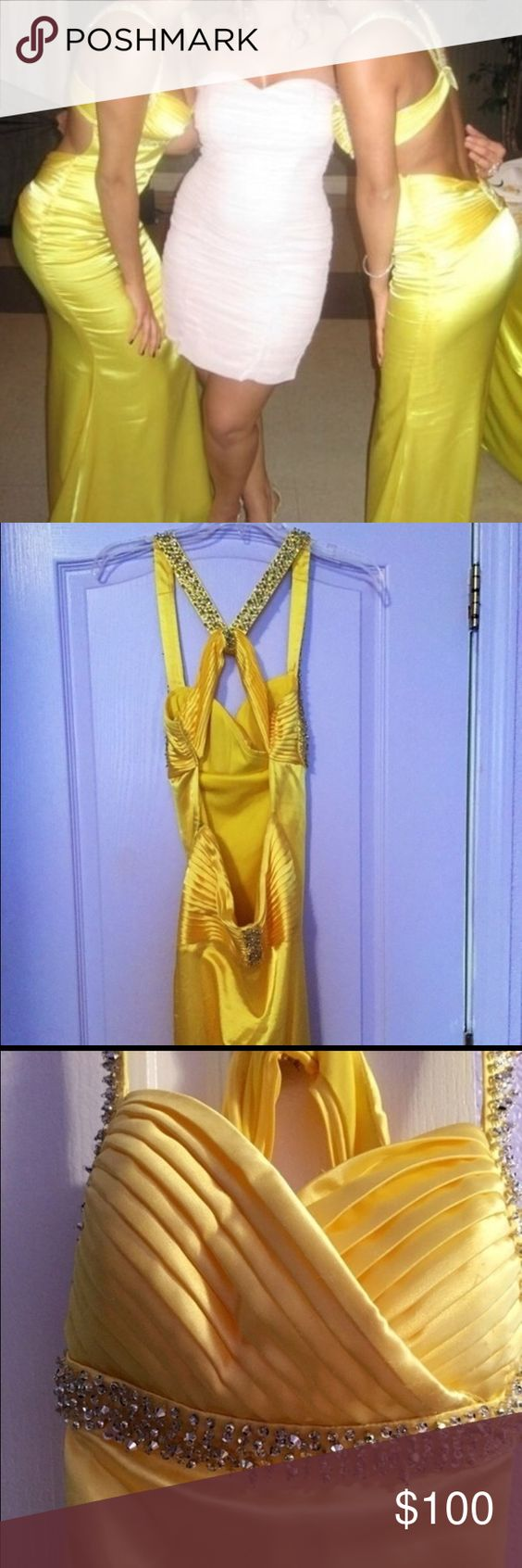 Long floor length yellow formal dress! Size 3/4 Yellow formal dress. Long floor length. Size 3/4. Perfect for any special occasion. Only worn one time in a wedding. Open back detail and form fitting! A tiny bit dirty at the bottom, but nothing dry cleaning cannot fix Morgan & Co. Dresses Prom