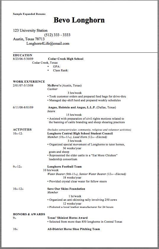 Sample Expanded Resume Sample Expanded Resume Bevo Longhorn 123 - barista resume sample