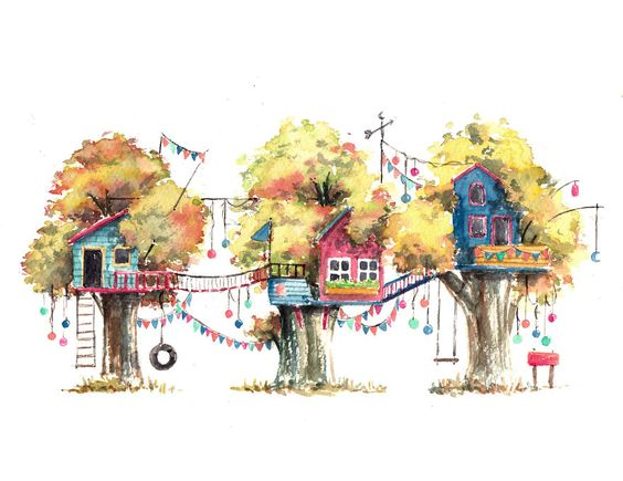 I Use Watercolours To Paint Whimsical Tree Houses | Junk Host