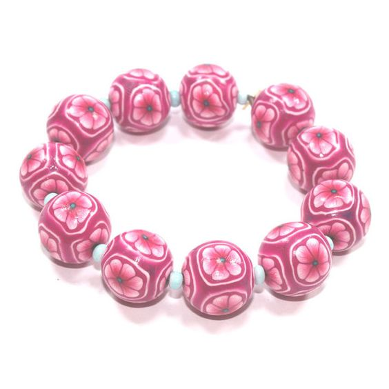 Polymer clay pinks and purple flower beads unique by ShuliDesigns, $20.00