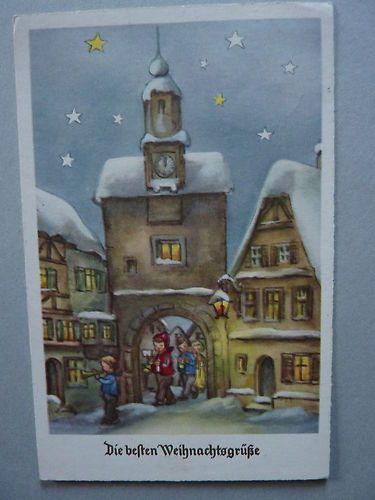 """alte AK """"Die besten Weihnachtsgrüsse """" Stadttor,verschneites Dorf, Kinder Haco   eBay"""