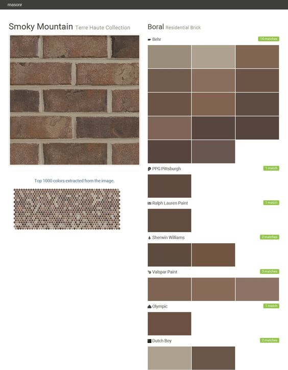 Smoky Mountain. Terre Haute Collection. Residential Brick. Boral. Behr. Olympic. PPG Paints. Ralph Lauren Paint. Sherwin Williams. Valspar Paint. Click the gray Visit button to see the matching paint names.: