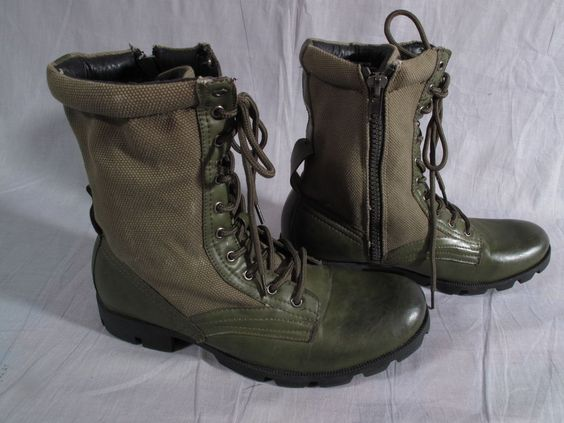 Men's J45 Jump Military Boots Shoes Olive Green Size 9 M Leather Canvas Lace Up  #JUMP #Military