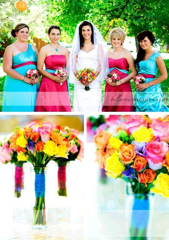 Show Me Fuschia Aqua Turquoise Wedding Pics Photo 1227145 1 Ideas Pinterest Hot Pink Weddings And Bridesmaids