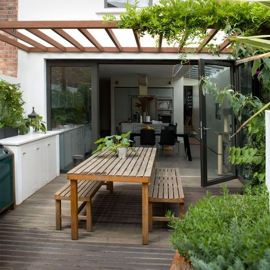 Creating zones is a clever way to add interest to an outdoor space and make it feel bigger than it is. This garden has a dining table by the house, creating a dining section of the garden which is further defined by the arbour. . . . repinnedvia House to home