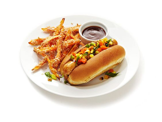 Grilled Chicken Dogs With Sweet Potato Fries from #FNMag #Veggies #Protein #Grains #MyPlate