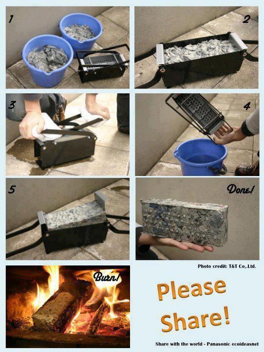 TIJOLOS DE JORNAL    Você pode reaproveitar jornais velhos e fazer tijolos de papel para acender a lareira ou fogão à lenha. A utilização de papel reduz em cerca de 1/3 o uso de lenha.  Como fazer:  Para cada tijolo, são necessárias 20 folhas de jornal.  Deixe de molho na água  Prense até secar (se não tiver prensa utilize espremedor de batatas)