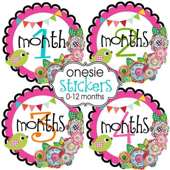 Spring Day , Preppy Onesie Stickers, 0-12 months. $10.00, via Etsy.