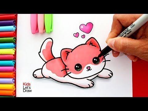 Aprende A Dibujar Un Gatito Bebe Kawaii Color Rosado Learn To Draw A Cute Baby Kitten Youtube Como Dibujar Un Gato Arte Con Marcadores Gatos Kawaii