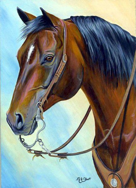 Original Western Quarter Horse Painting Art Handsome Bay