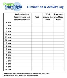 Preschool Elimination And Activity Log Potty Training Puppy