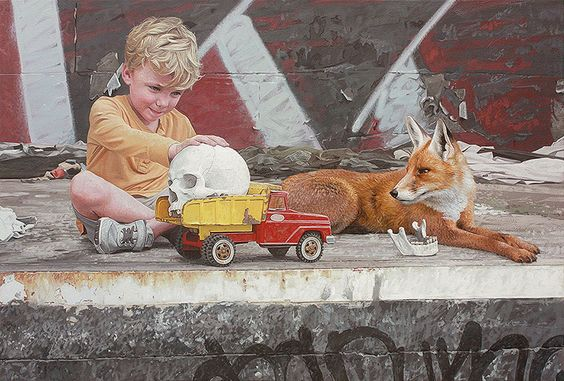 New paintings by Houston-based artist Kevin Peterson best known for his depictions of children and wild animals peacefully coexisting in graffiti-laced urban environments.