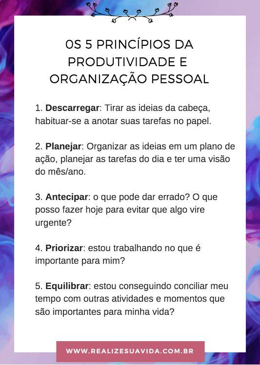 Os 5 princípios da produtividade e organização pessoal: