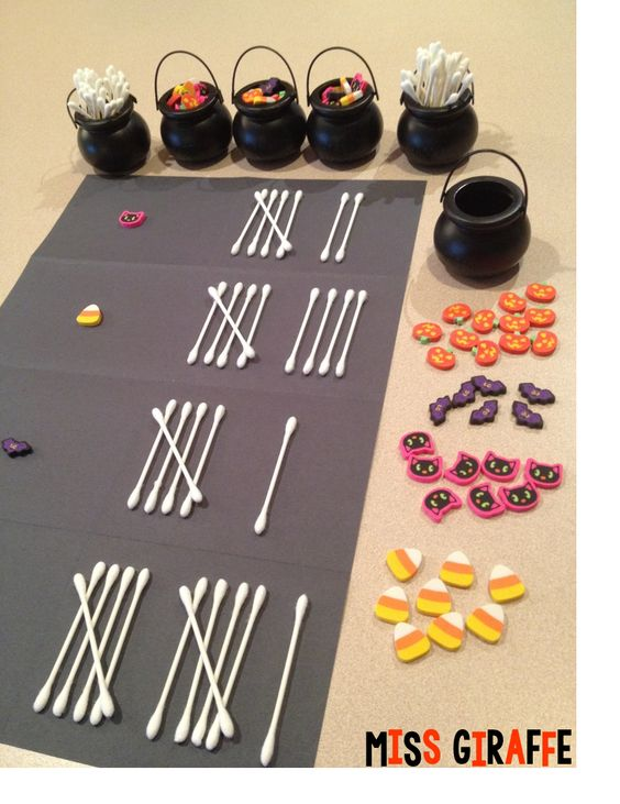 First grade graphing in October with fun Halloween erasers from the dollar store and cotton swabs as BONE tallies -- and bunch of other super fun Halloween math ideas