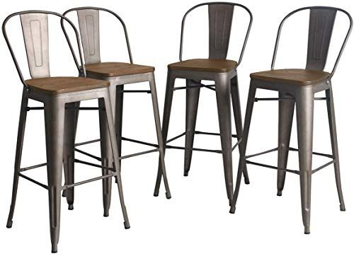 New Yongqiang Metal Barstools Set 4 Indoor Outdoor 30 Inch Bar Stools High Back Dining Chair Industrial Counter Bar Chairs Wooden Seat Rusty Online Shopping In 2020 With Images High Back
