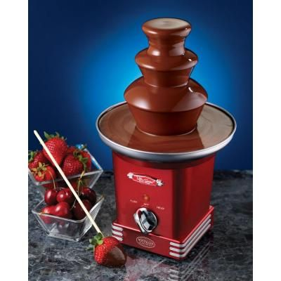Dip strawberries, marshmallows, apple wedges, pretzels, cookies, ice cream balls, chilled peanut butter balls and more with this chocolate fondue set!