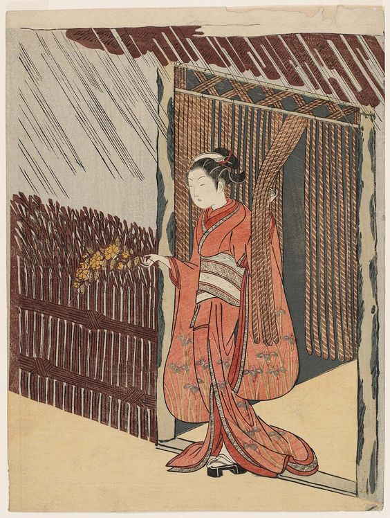 Woman Holding a Branch of Yamabuki (Parody of the Story of Ôta Dôkan)  山吹の枝をさし出す娘 (見立山吹の里) Japanese Edo period about 1766–67 (Meiwa 3–4) Artist Suzuki Harunobu (Japanese, 1725–1770)