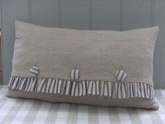 Burlap Pillow/ ticking stripe -change to red