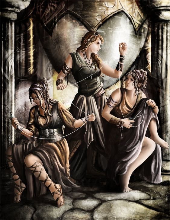 Moirai by Jay-R-Took on DeviantArt ~ The fates (Moirai): Clotho, the Spinner, Lachesis, the Allotter, Atropos, the Unturnable.