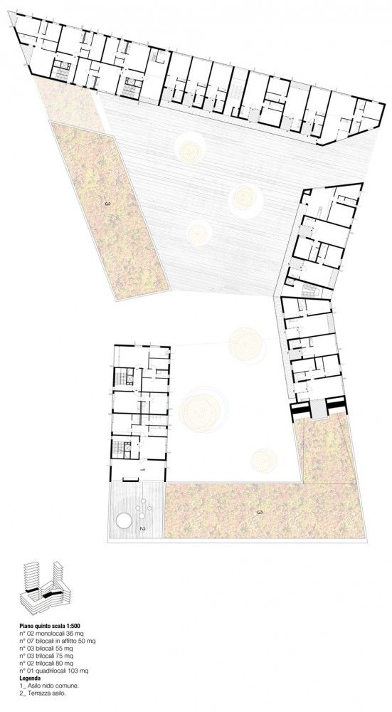 Social Housing in Milan / StudioWOK. fifth level plan