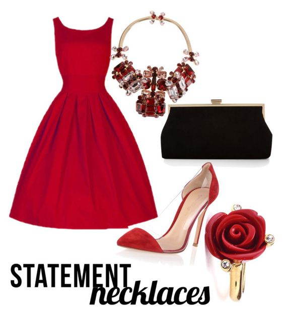 """""""Untitled #19"""" by ayiarundhati ❤ liked on Polyvore featuring Dsquared2, Monsoon, Gianvito Rossi, Oscar de la Renta and statementnecklaces"""