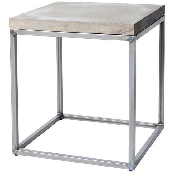 Lyon Beton Perspective Side Table (£250) ❤ liked on Polyvore featuring home, furniture, tables, accent tables, grey, slab table, industrial coffee table, gray side table, gray table and square end tables