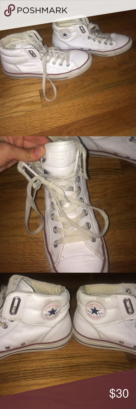 Faux leather white converse Hightop faux leather converse with thick tongue. Padded ankle. Only worn once but shoe laces have gotten dirty from being in my closet for so long. With some new laces these shoes will look brand new. Converse Shoes Sneakers