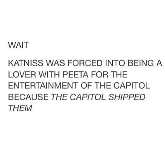 Plot twist: we are the Capitol. << Crap. And because Peeta decided to let everyone know he was In love With katniss before telling her