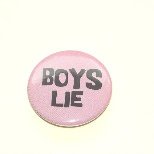 Vintage Pink 'Boys Lie' Brooch,  - Rare by BunkysVintageCrafts on Etsy