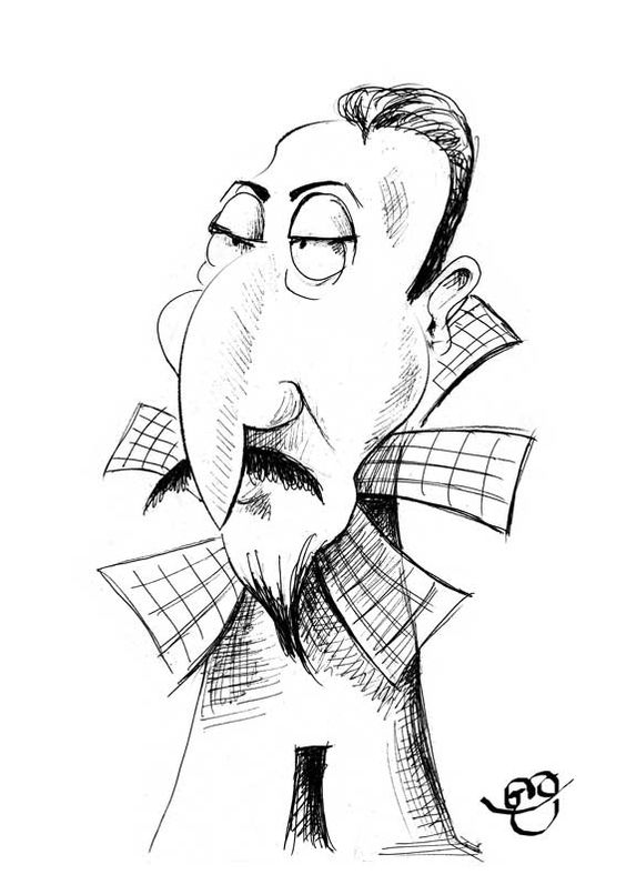 Caricatura de Cervantes, por Gio. 79 de 100. #100carasCervantes