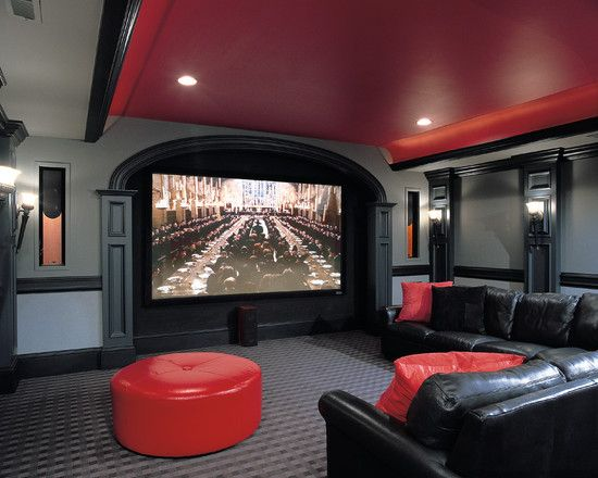 Black And Grey Media Room Red Leather Couch Design Pictures