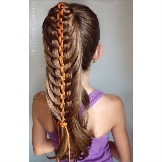 """Ponytail with 5 Strand Mermaid Braid Yesterday Shelley said that would look good a pony with leather and I came up with this and I'm extremely happy with the results. Thanks @prettylittlebraids  ✨Inspired by @molliebanks5 but instead of Dutch I have done French ✨"" Photo taken by @mimiamassari on Instagram, pinned via the InstaPin iOS App! http://www.instapinapp.com (06/16/2015)"
