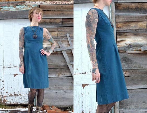 Vintage 1950's Royal Blue Cotton Day Dress by RoslynVTGTradingCo, $41.00
