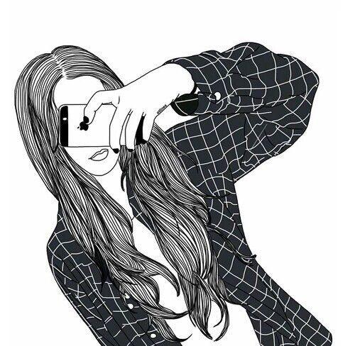 Image Via We Heart It Blackandwhite Drawing Girl