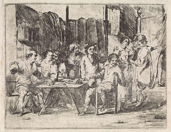 Cornelis de Wael | Gezelschap in een herberg, Cornelis de Wael, 1630 - 1648 | Interieur van een herberg met mannen en vrouwen die roken en drinken. De herbergierster zet een kan drank op tafel. Rechts op de achtergrond staan twee mannen met een vrouw te praten. Eén van hen wijst naar een gordijn waarachter een been te voorschijn komt.