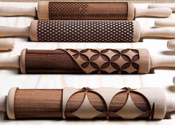 Rollware is a set of laser-cut rolling pins designed to produce edible plates and dishes from dough. | Designers: Joanne Choueiri, Giulia Cosenza and Povilas Raskevicius