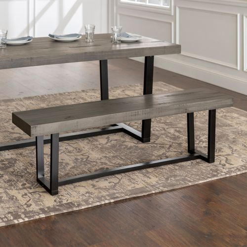 Distressed Gray Dining Bench In 2020 Dining Table With Bench Grey Dining Tables Dining Bench