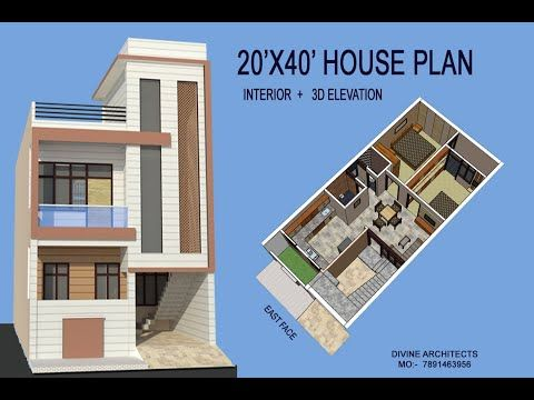 20x40 House Plan With Interior 3d Elevation Youtube In 2020 20x40 House Plans House Plans 2bhk House Plan