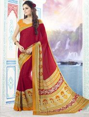 Red Color Crepe Casual Party Sarees : Mitali Collection YF-32593