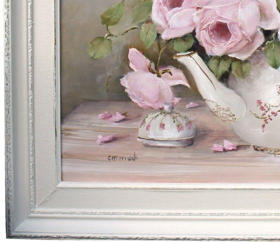 Roses dans un pot de thé, peinture Gail McCormack origine
