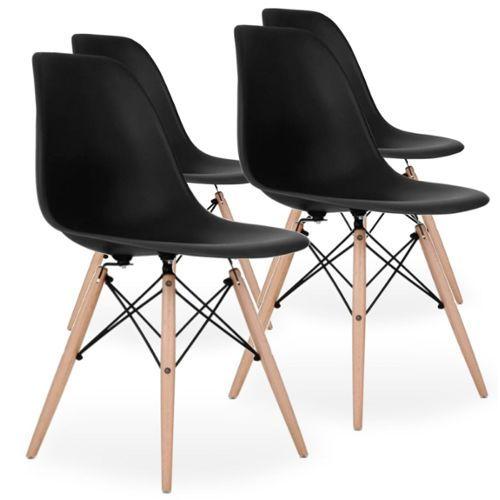 Lot De 4 Chaises Scandinaves Noires Style Eiffel Rakuten En 2020 Chaise Scandinave Noire Chaise Scandinave 4 Chaises
