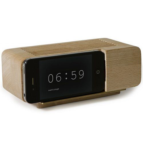 iPhone Dock Wood Alarm Clock ($40)
