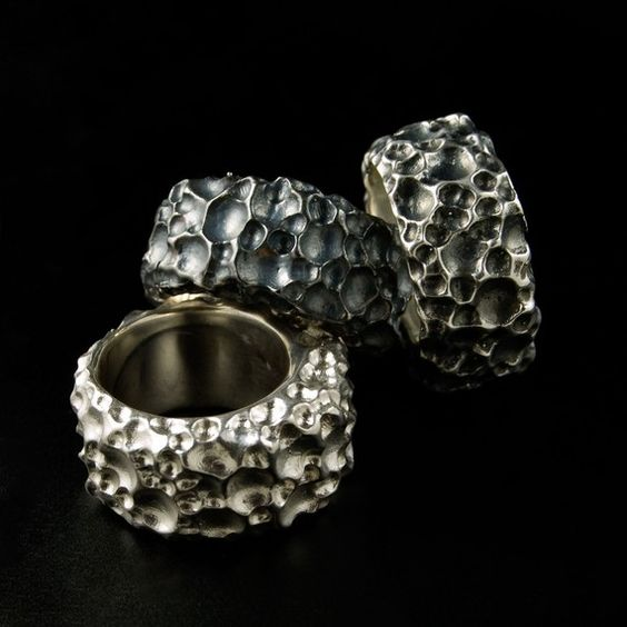 Big Mama Sterling Silver Textured Ring Wide Unisex by nodeform
